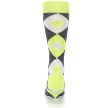 Image of Lime Gray Argyle Men's Dress Socks (back-18)