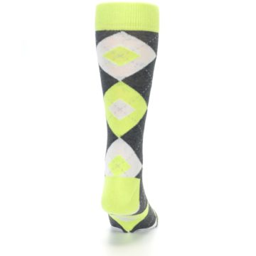 Image of Lime Gray Argyle Men's Dress Socks (back-19)