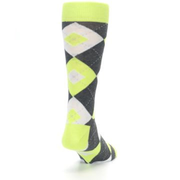Image of Lime Gray Argyle Men's Dress Socks (side-1-back-20)