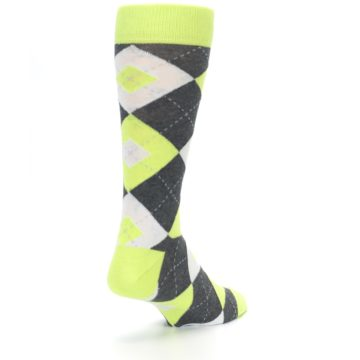 Image of Lime Gray Argyle Men's Dress Socks (side-1-back-21)