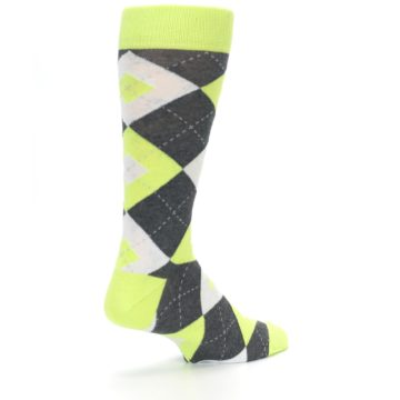 Image of Lime Gray Argyle Men's Dress Socks (side-1-back-22)
