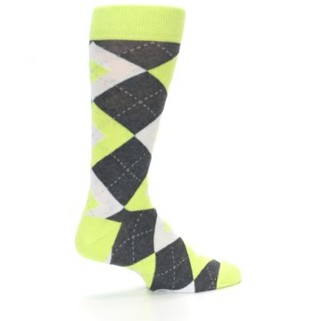 Image of Lime Gray Argyle Men's Dress Socks (side-1-23)