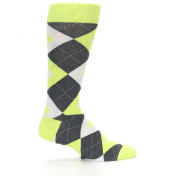 Image of Lime Gray Argyle Men's Dress Socks (side-1-24)