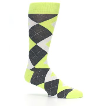 Image of Lime Gray Argyle Men's Dress Socks (side-1-25)