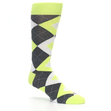 Image of Lime Gray Argyle Men's Dress Socks (side-1-26)