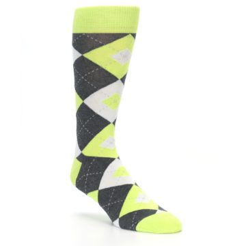 Image of Lime Gray Argyle Men's Dress Socks (side-1-27)