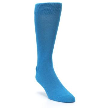 Image of Teal Solid Color Men's Dress Socks (side-1-front-02)