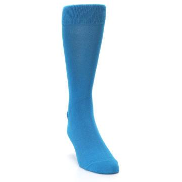 Image of Teal Solid Color Men's Dress Socks (side-1-front-03)