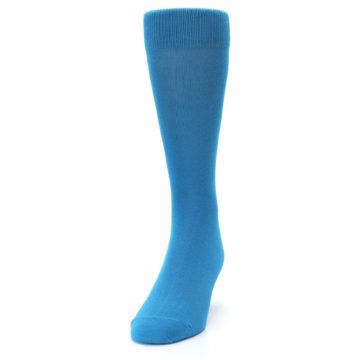 Image of Teal Solid Color Men's Dress Socks (side-2-front-06)