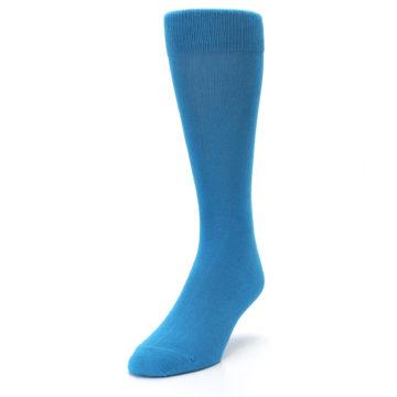 Image of Teal Solid Color Men's Dress Socks (side-2-front-07)