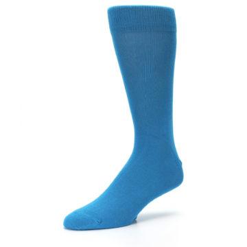 Image of Teal Solid Color Men's Dress Socks (side-2-09)
