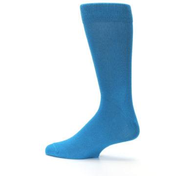 Image of Teal Solid Color Men's Dress Socks (side-2-13)