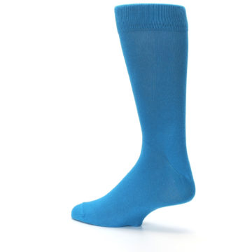 Image of Teal Solid Color Men's Dress Socks (side-2-back-14)