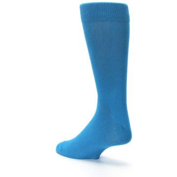 Image of Teal Solid Color Men's Dress Socks (side-2-back-15)