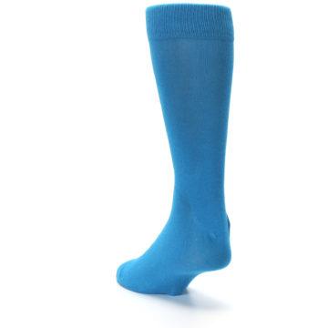 Image of Teal Solid Color Men's Dress Socks (side-2-back-16)