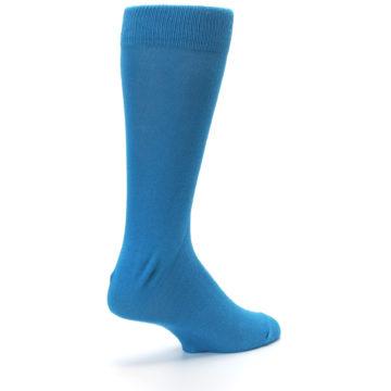 Image of Teal Solid Color Men's Dress Socks (side-1-back-22)