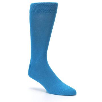 Image of Teal Solid Color Men's Dress Socks (side-1-27)
