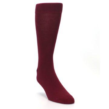 Image of Burgundy Solid Color Men's Dress Socks (side-1-front-02)