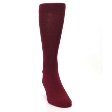 Image of Burgundy Solid Color Men's Dress Socks (side-1-front-03)