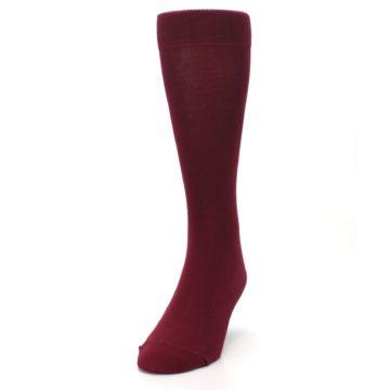 Image of Burgundy Solid Color Men's Dress Socks (side-2-front-06)