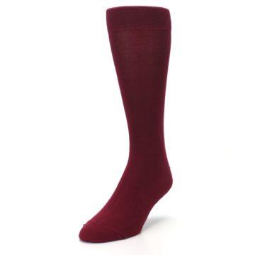 Image of Burgundy Solid Color Men's Dress Socks (side-2-front-07)
