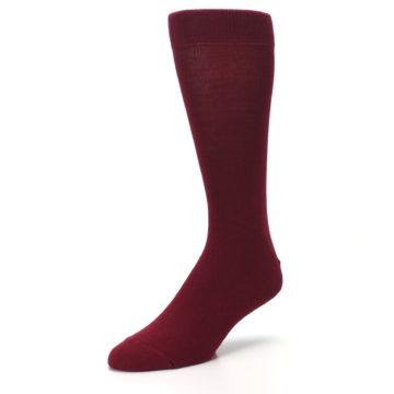 Image of Burgundy Solid Color Men's Dress Socks (side-2-front-08)