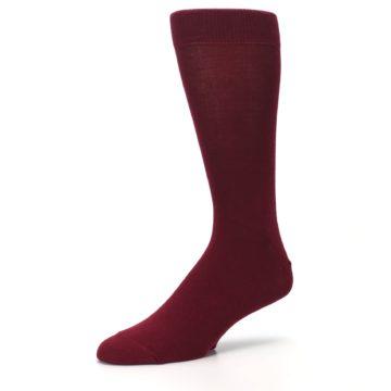 Image of Burgundy Solid Color Men's Dress Socks (side-2-09)