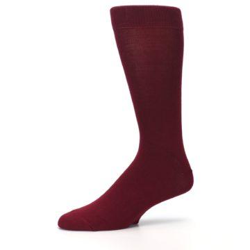 Image of Burgundy Solid Color Men's Dress Socks (side-2-10)
