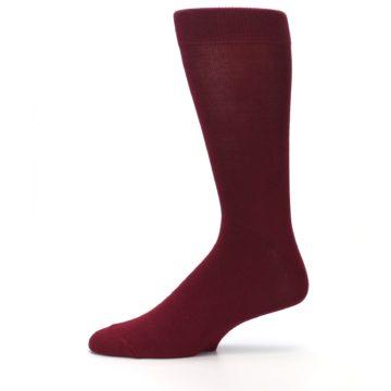 Image of Burgundy Solid Color Men's Dress Socks (side-2-11)