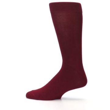 Image of Burgundy Solid Color Men's Dress Socks (side-2-12)