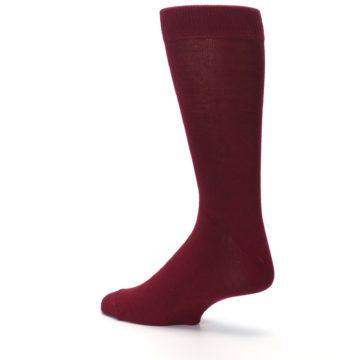 Image of Burgundy Solid Color Men's Dress Socks (side-2-back-14)