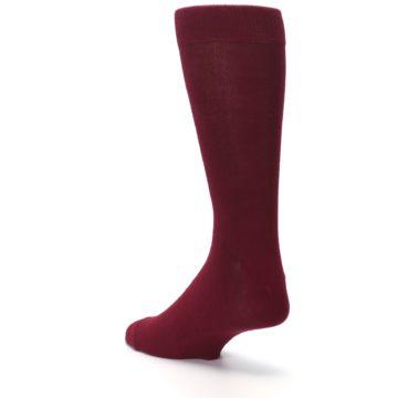 Image of Burgundy Solid Color Men's Dress Socks (side-2-back-15)