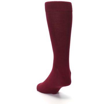 Image of Burgundy Solid Color Men's Dress Socks (side-2-back-16)