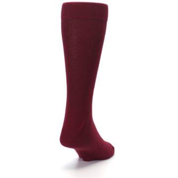 Image of Burgundy Solid Color Men's Dress Socks (side-1-back-20)