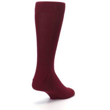 Image of Burgundy Solid Color Men's Dress Socks (side-1-back-21)