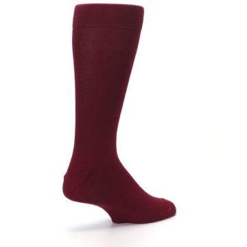 Image of Burgundy Solid Color Men's Dress Socks (side-1-back-22)