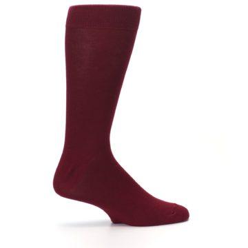 Image of Burgundy Solid Color Men's Dress Socks (side-1-24)