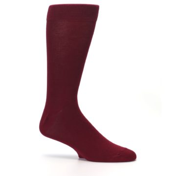 Image of Burgundy Solid Color Men's Dress Socks (side-1-25)