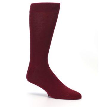 Image of Burgundy Solid Color Men's Dress Socks (side-1-26)