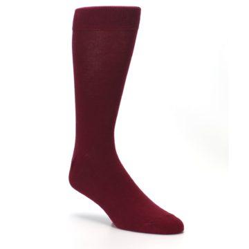 Image of Burgundy Solid Color Men's Dress Socks (side-1-27)