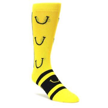 yellow black smiley face laugh fest mens dress socks by Boldsocks