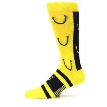 Image of Yellow LaughFest Smiley Men's Dress Socks (side-2-11)