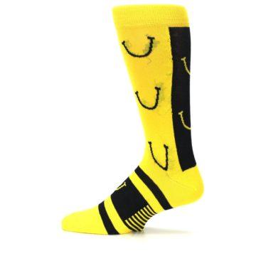 Image of Yellow LaughFest Smiley Men's Dress Socks (side-2-12)