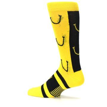Image of Yellow LaughFest Smiley Men's Dress Socks (side-2-13)