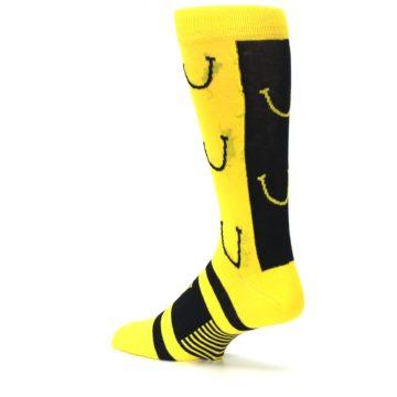 Image of Yellow LaughFest Smiley Men's Dress Socks (side-2-back-14)