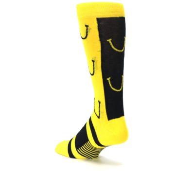 Image of Yellow LaughFest Smiley Men's Dress Socks (side-2-back-15)