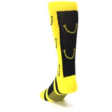 Image of Yellow LaughFest Smiley Men's Dress Socks (side-2-back-16)