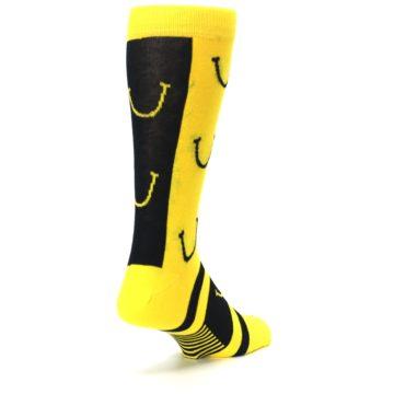 Image of Yellow LaughFest Smiley Men's Dress Socks (side-1-back-21)