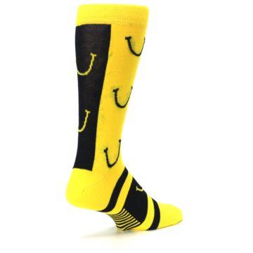 Image of Yellow LaughFest Smiley Men's Dress Socks (side-1-back-22)