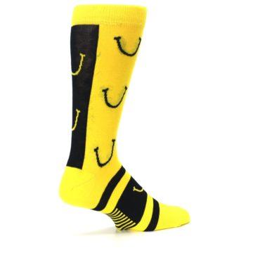 Image of Yellow LaughFest Smiley Men's Dress Socks (side-1-23)